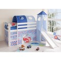 upali-dreams-letto semi alto con scivolo macchine blu
